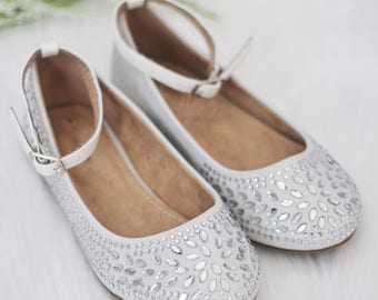 SALE!!! Kids Shoes - WHITE Shimmer satin with rhinestone ballet flat. Perfect for princess, fairies, and flower girl shoes