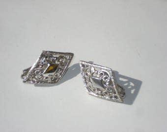 Vintage Earrings Silver Diamond Shaped  - Clip On Costume Jewelry 1970s