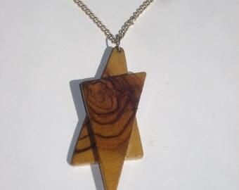 Vintage Wood Necklace - Wooden Star Pendant - Hippie Boho Jewellery