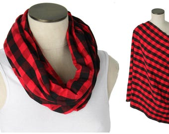 Red & Black Buffalo Plaid Nursing Scarf / Hold Me Close Nursing Scarf / Nursing Cover / Infinity Nursing Scarf