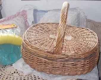 Picnic Basket Oval Wicker, Wicker Picnic Basket, Oval Picnic Basket ,Storage, Picnics, Organization, Rustic Basket,