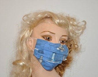 Lighthouse, Flu and Dust mask, Cute protective face mask, Ocean blue lighthouses, Hospital give away
