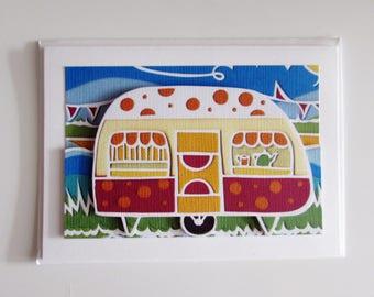 Papercut art orange caravan at the seaside 3D blank greeting card