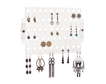 Earring Holder Wall Mounted Jewelry Organizer Storage Rack (Earring Angel in Clear, Blue Frosted, Pink, Purple, White)