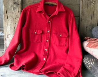 Woolrich USA Red Wool Flannel Shirt Mid Century X Large