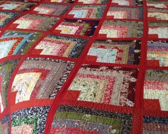 Vintage Half Log Cabin Block Quilt King Size