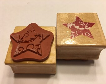 Fancy Star rubber stamp, 25 mm (BR120)