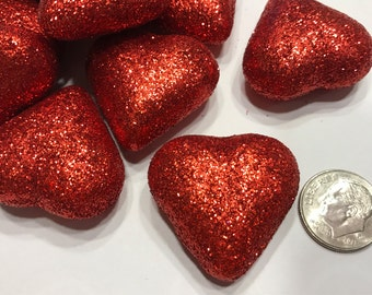 6 red glitter hearts, embellishment filler, 30 mm (A2)