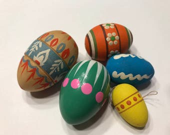 mix of 5 Vintage Wood painted Easter Eggs, 27-50 mm (A13/3)