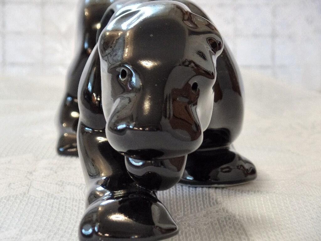 Large ceramic black panther black puma mid century modern tv - Ceramic black panther statue ...