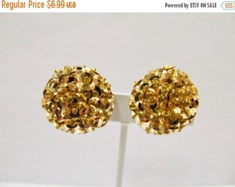 On Sale Vintage Beaded Golden Sequin Earrings Item K # 671
