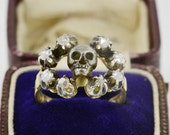 A delightful Victorian Memento Mori rose cut diamond ring