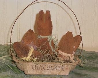 Primitive Rabbit-Rabbit with Eggs-Chocolate Bunny in Basket--tbu 1117