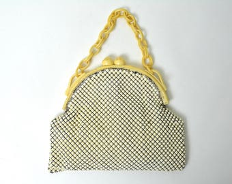 Vintage 1930s Metal Mesh Purse with Carved Celluloid 30s Alumesh Whiting and Davis