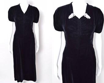 Vintage 1930s Dress 30s Velvet Dress