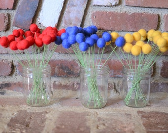 Felt Ball Flower Bouquets - 30 in red, navy blue or golden yellow - 2 cm wool felted ball craspedia, billy ball buttons, bold faux flowers
