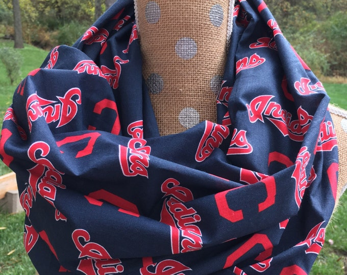 Featured listing image: Cleveland Indians MLB Adult Infinity Scarf Double Loop 10x70.  Free Shipping