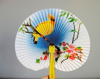 Vintage Paper Fan from The Peoples Republic of China, mid century, pocket sized fan