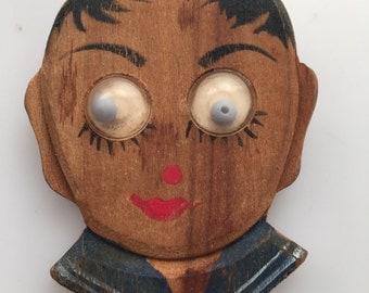 ART DECO Wooden Pin Face Brooch GOOGLY Eyes Hand Painted Figural Pin 1930s Vintage Our Gang Alfalfa Google Eyes pin