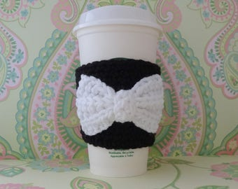 Crochet White Bow and Black Reusuable Cup Cozy/Sleeve, Eco Friendly Cup Cozy/Sleeve - Ready to Ship