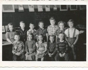 Vintage 1940's Photograph Children Boys & Girls Class Black and White Photo