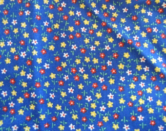 1970's Blue Calico, Calico, Ditsy, Blue, Floral, Flower, Quilt Fabric, Cotton, Quilter Weight, 1970's, 1960's