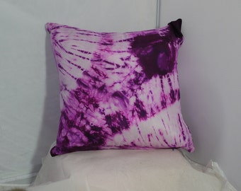 Purple tie dyed silk accent pillow