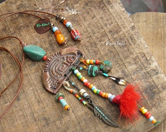 Nomad necklace-hippie necklace-bohemian necklace-rustic style-gypsy look-fish necklace in copper-ethnic fish-turquoise-red-orange-copper
