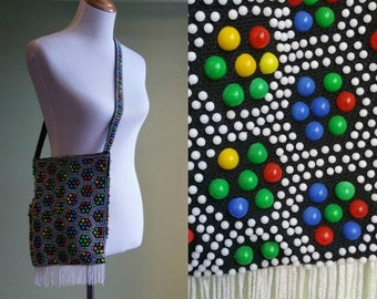 1960s 70s Beaded Handbag - Fringe - Primary Colors Bag -