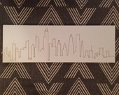 """NYC Skyline Silhouette, Outline Only, 12""""x36"""""""