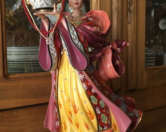 """Diamond Fire Empress 11-1/2"""" Porcelain Figurine by Sculptor Lena Liu, produced by The Danbury Mint in the 1980s"""