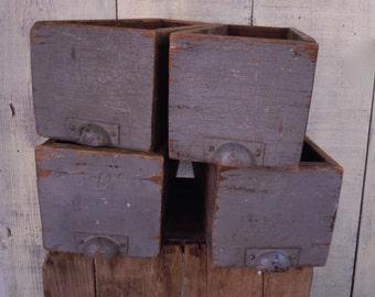 Vintage Industrial Primitive Rustic Gray Wooden Drawers x 4