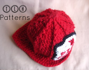 CROCHET PATTERN, Crochet fireman hat pattern, photo prop - baby, child and adult size, instant download PDF, Pattern No. 7