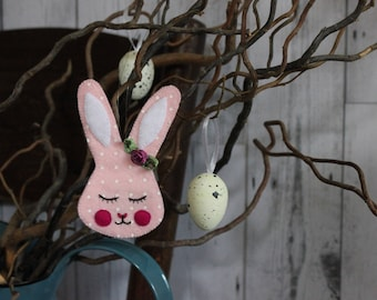 Easter bunny- sweet sleepy rabbit, hand cut and embroidered from dotty pink ecofelt,  with pink ribbon rose