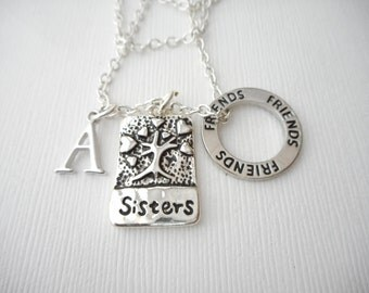 Sisters, Friends- Initial Necklace/ Sisters Jewelry, Sibling Jewelry, inspiration, sisterly love, love for sister, Gift for Sister