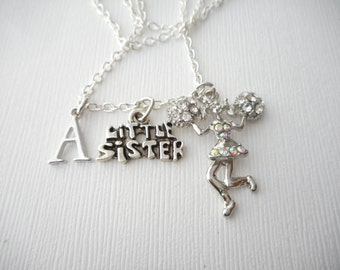Little Sister, Cheerleader- Initial Necklace/ Sisterhood gift, sister love necklace, wedding jewelry gift, sisters gift, lil, Best Friends