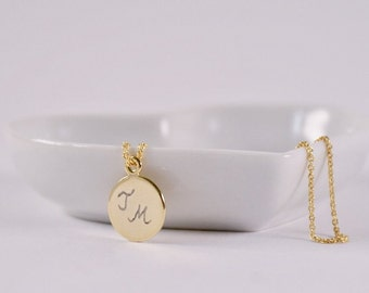Initials Necklace engraved gold-plated name