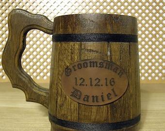 Wooden Beer mug, Custom engraving,  0.7 l (23oz), natural wood,groomsmen gift, n46