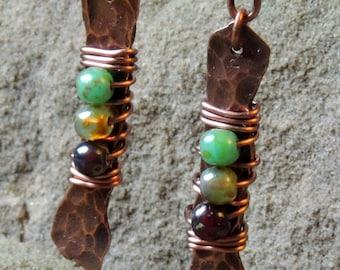 Pixie Sticks Earrings - Earth Tones - Czech Glass - Dangle Earrings