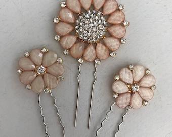 Rose gold hair pins  , Bobby pins , Bridal hair accessories - Rose gold hair pins - hair pins bridesmaid