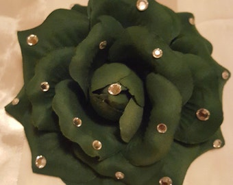 """Classy 5.5"""" Rose Flower Brooch/Hair Accessory/Corsage Adorned with Gems"""