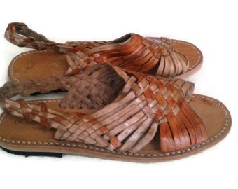 Brown woven huaraches leather vintage made in Mexico size 6 6.5