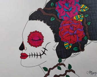 Day of the Dead Art, Sugar Skull Girl Art, 9x12 Inch Drawing, Dia De Los Muertos, Original Drawing, Sugar Skull Art, Calavera Drawing
