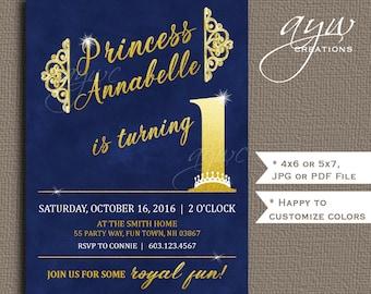 Princess 1st Birthday Invitation Printable Princess First Birthday Invitation Girl Princess Birthday Invites Gold Glitter Crown Chalkboard