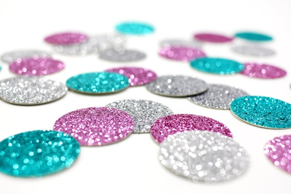 "Silver + Lavender + Aqua Blue Glitter Confetti - 1"" - Wedding. Bachelorette Party. Bridal Shower. Baby Shower. Engagement. First Birthday."