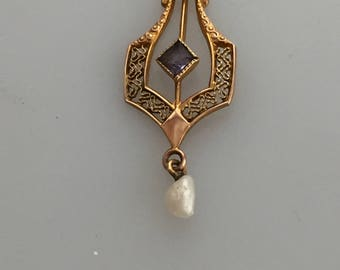 EDWARDIAN LAVALIERE 10K Gold Antique Lavaliere Freshwater Pearl Seed Pearl PIERCED Engraved Pendant Filigree Pendant Amethyst Alexandrite