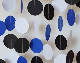 Royal Blue, White & Black Garland, Circle Paper Garland, Graduation Garland, Father's Day Decoration, Boy's Birthday Party, 10 ft. long