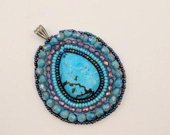 Blue and Purple Beaded Pendant
