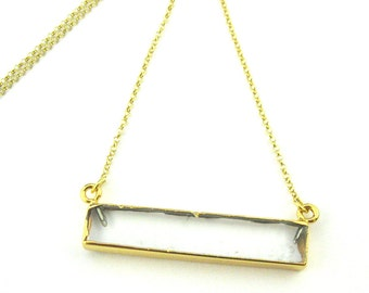 Crystal Bar Pendant Necklace -Long Horizontal Crystal Gem Bar and Gold Necklace - Gold plated Sterling Silver Necklace Chain - SKU: 692114