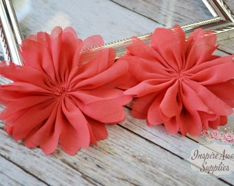 Watermelon Ballerina chiffon Flowers- Set of 2 DIY fabric flowers, wholesale flowers, chiffon flowers, supply flowers,headband supply